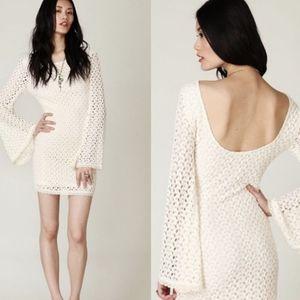 Free People Crotchet Cover Up Ivory Dress Medium